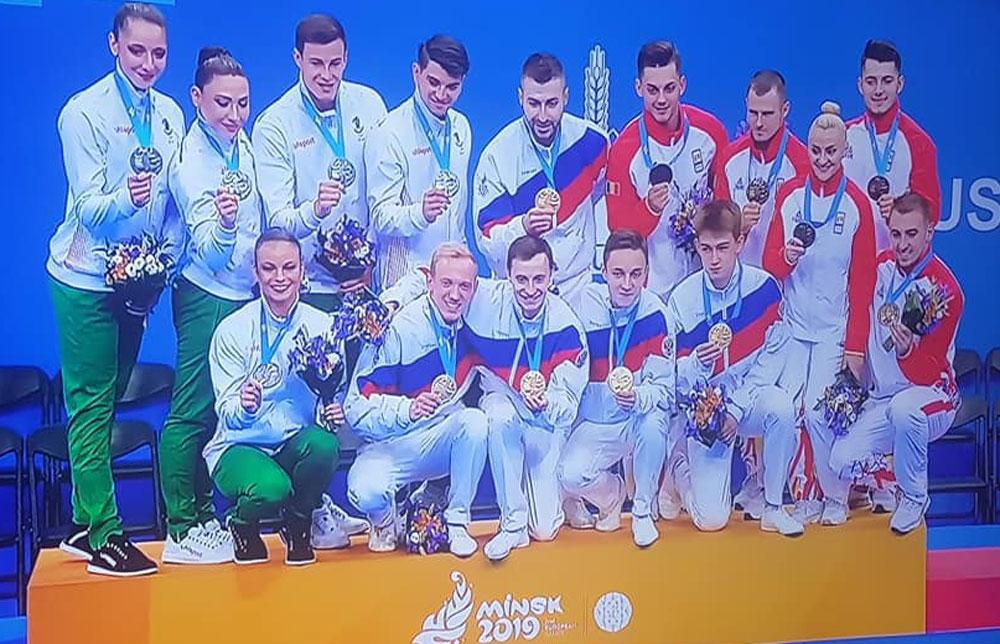 Дарина и Тихомир са вицешампиони с групата по аеробика на Европейските игри